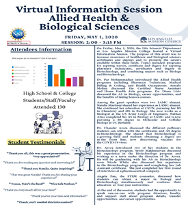 Virtual Information Session -- Allied Health & Biological Sciences -- Event Summary