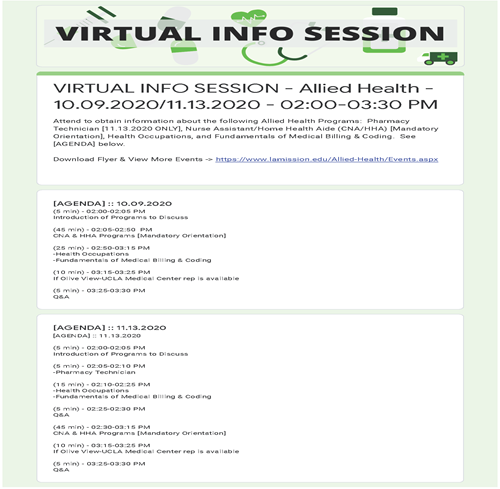 Allied Health Virtual Info Session 10.09&11.13.2020 Agenda