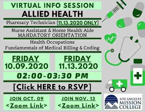 Allied Health Virtual Info Session 10.09&11.13.2020 Flyer